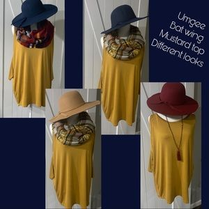 New!🍁Umgee batwing peekaboo shoulder mustard top